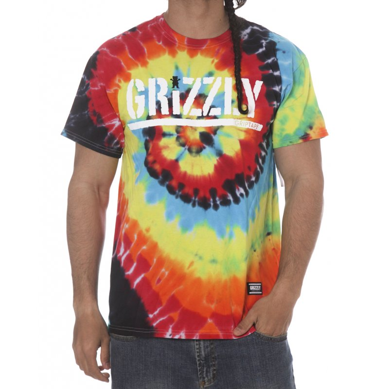 269f702b Grizzly T-shirt: Colored Bear Stamp Tee Tie Dye MC | Buy Online | Fillow  Skate Shop
